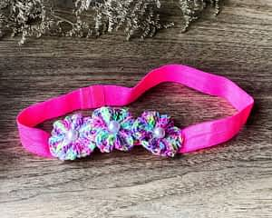 Crochet Flowers on Soft Headbands - Shaded Hot Pink