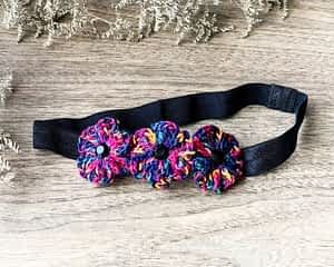 Crochet Flowers on Soft Headbands - Shaded Black