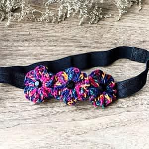 Crochet Flowers on Soft Headbands - Shaded Black