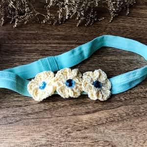 Crochet Flowers on Soft Headbands - Pale Blue