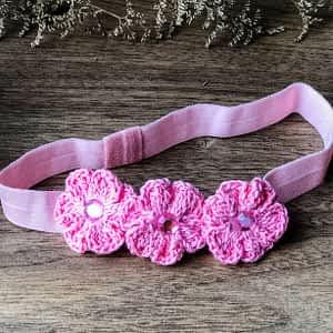 Crochet Flowers on Soft Headbands - Pink
