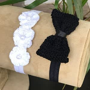 Crochet Bow and Flowers on Soft Headbands - Pack of 2